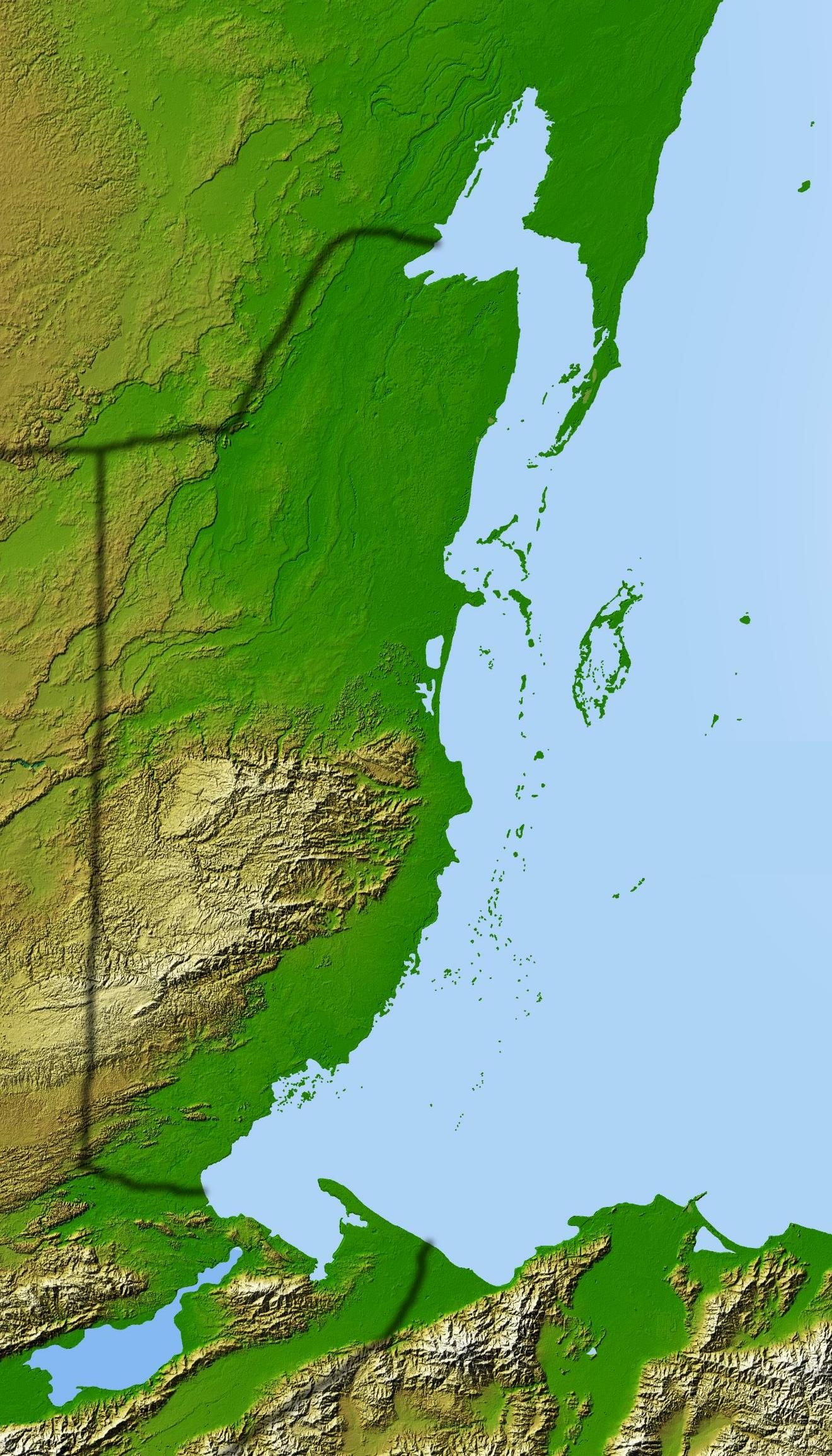 Geographical Relief Map of Belize and Surrounding Area Belize Geography