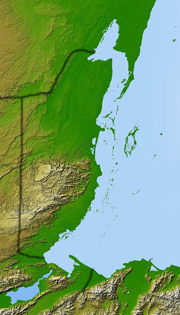 Geographical Relief Map of Belize and Surrounding Area, Belize