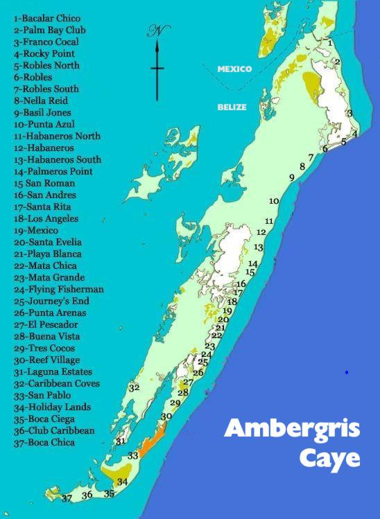 Areas Of Ambergris Caye