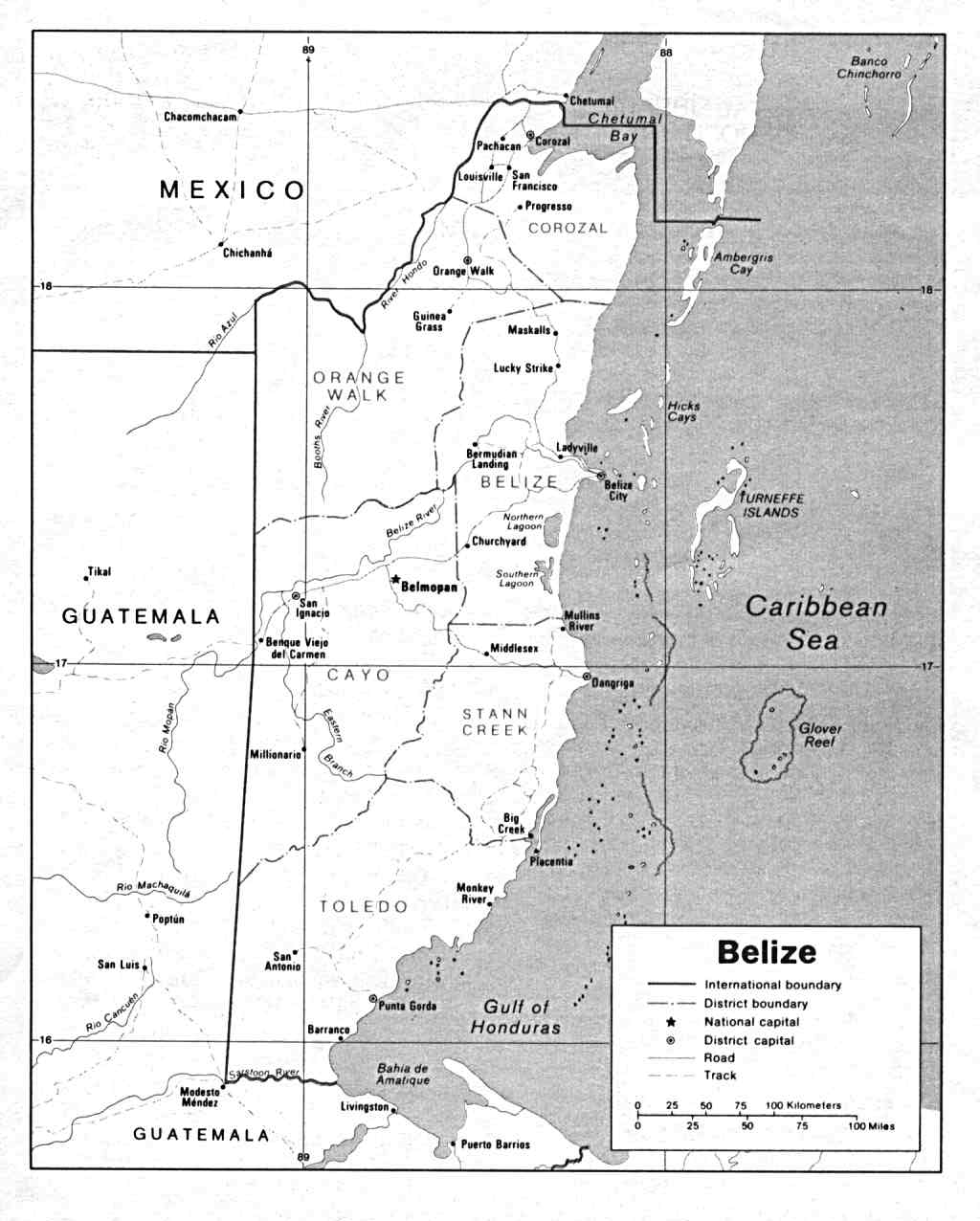 Belize General Information Facts And Maps - Cardinals points map us