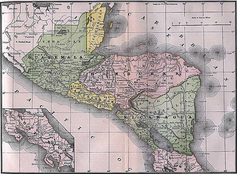 Antique Map of Belize and Central America