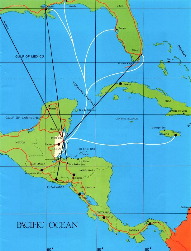 Map of the Southern USA Caribbean and Central America with travel – Belize Travel Map