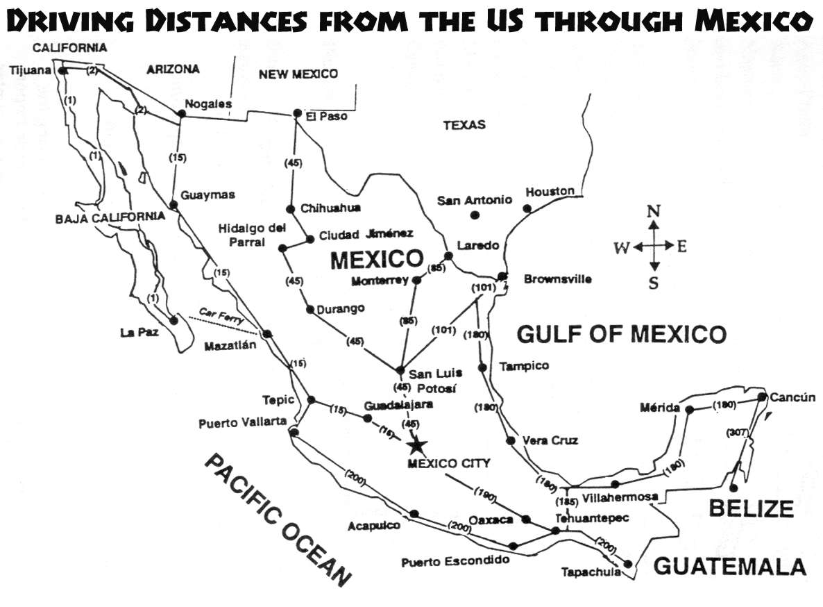 Driving To Belize - Us map and driving distances