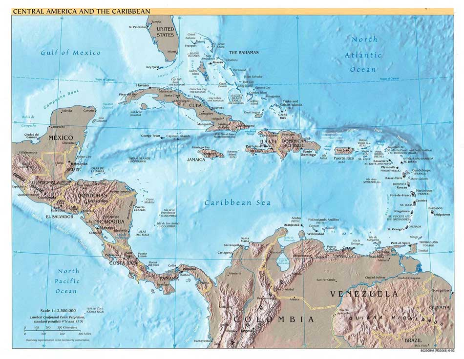 Belize and Central America Physical Relief Map, Ambergris Caye ...