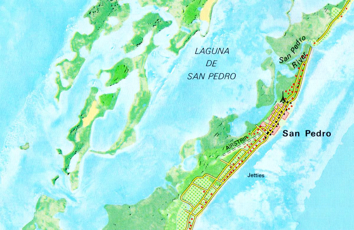 Map of San Pedro Lagoon, Belize Geography