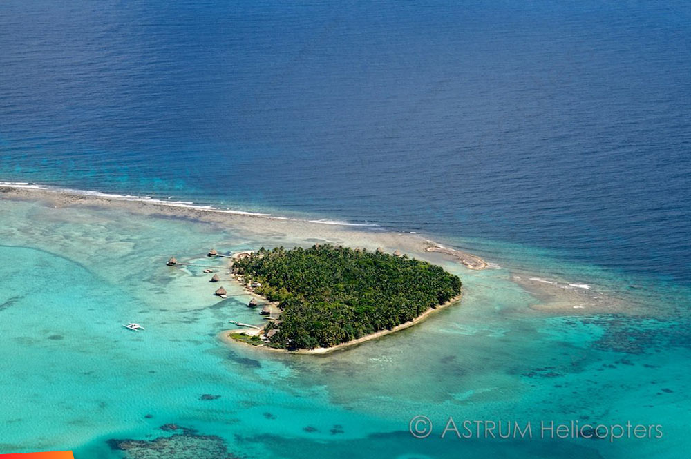 Aerial view of Glover's Atoll Resort on North East Caye