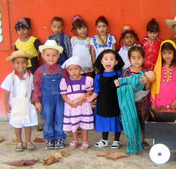 Children wearing ethnic costumes