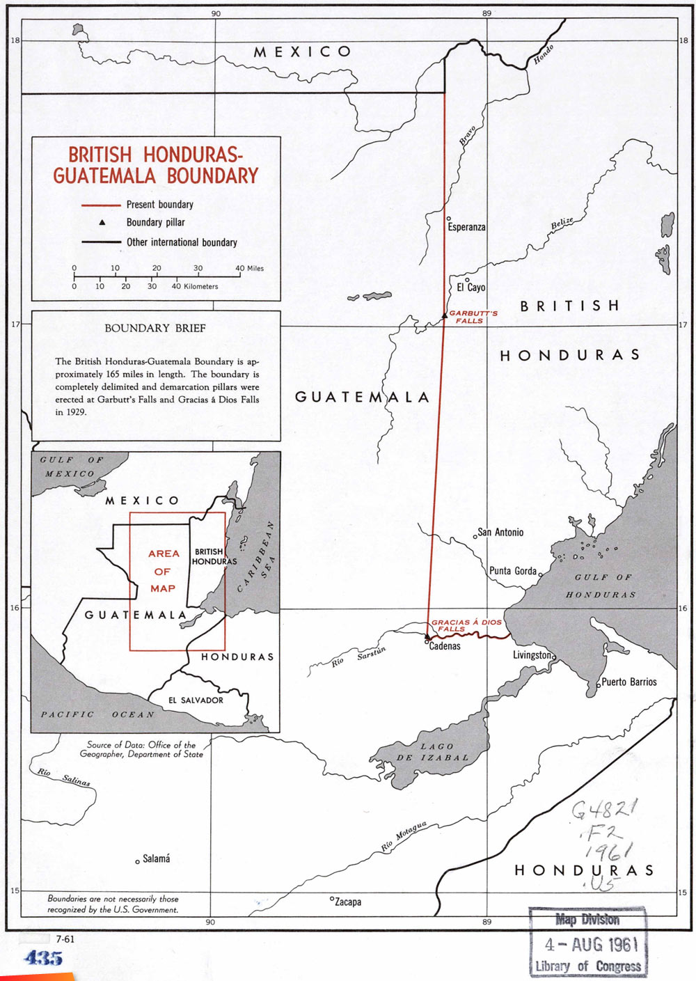 A 1961 map of the border between British Honduras (now Belize) and ...